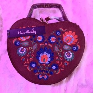Brown Heart Embroidered Purse